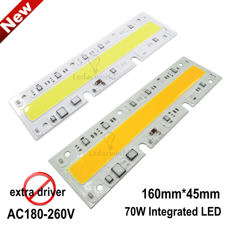 2pcs/lot 220V 70W IP65 Floodlight LED COB Chip, Integrated Smart IC Rectangle Warm White Cold White Light Source, Easy to use