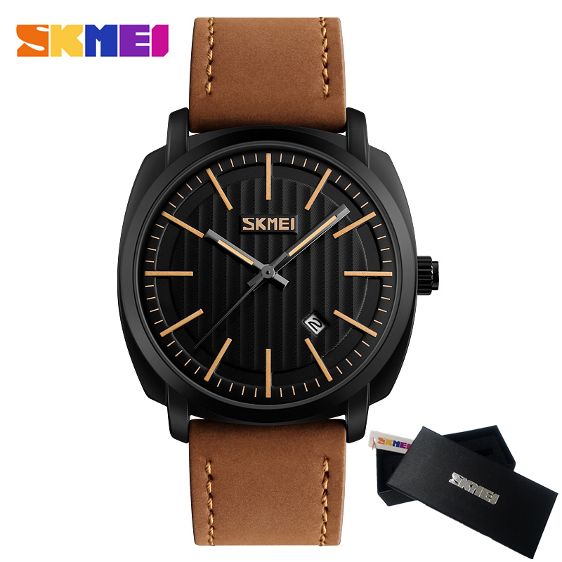 SKMEI Men's Fashion Casual Sport Watch Mens Watches Top Brand Luxury Quartz Watch Leather Strap Military Watch Wrist Male Clock mens watch top luxury brand fashion hollow clock male casual sport wristwatch men pirate skull style quartz watch reloj homber