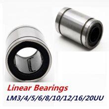 10 pièces linéaire douille LM3UU LM4UU LM16UU LM20UU roulements linéaires pour tiges Rail linéaire roulement à billes linéaire bague CNC pièces