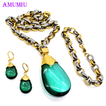 hot deal buy amumiu grandmother green crystal fashion jewelry sets for woman water drop necklace pendant earrings statement js056b