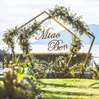 Wedding Props DIY Iron Pentagon Shelf Artificial Flower Wall Frame Arch Wedding Background Decorative Arch Iron Frame