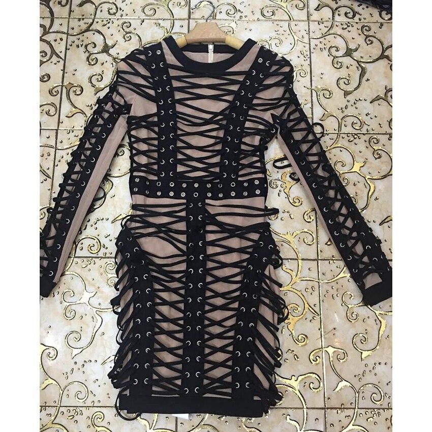 HOHE QUALITÄT Neueste 2019 Barock Runway Designer Kleid frauen Langarm Luxuriöse Schnürung Seil Stretch Bodycon Kleid-in Kleider aus Damenbekleidung bei  Gruppe 3