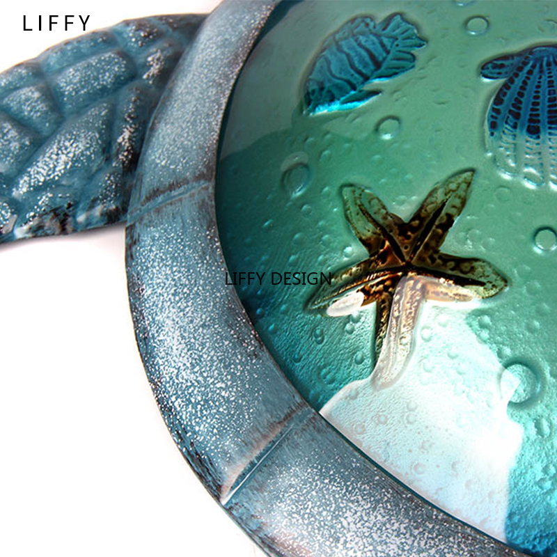 Liffy Turtle Metal Glass Wall Art For Outdoor Decoration Garden Ornaments And Home Gardening Statues  For Yard Decoration