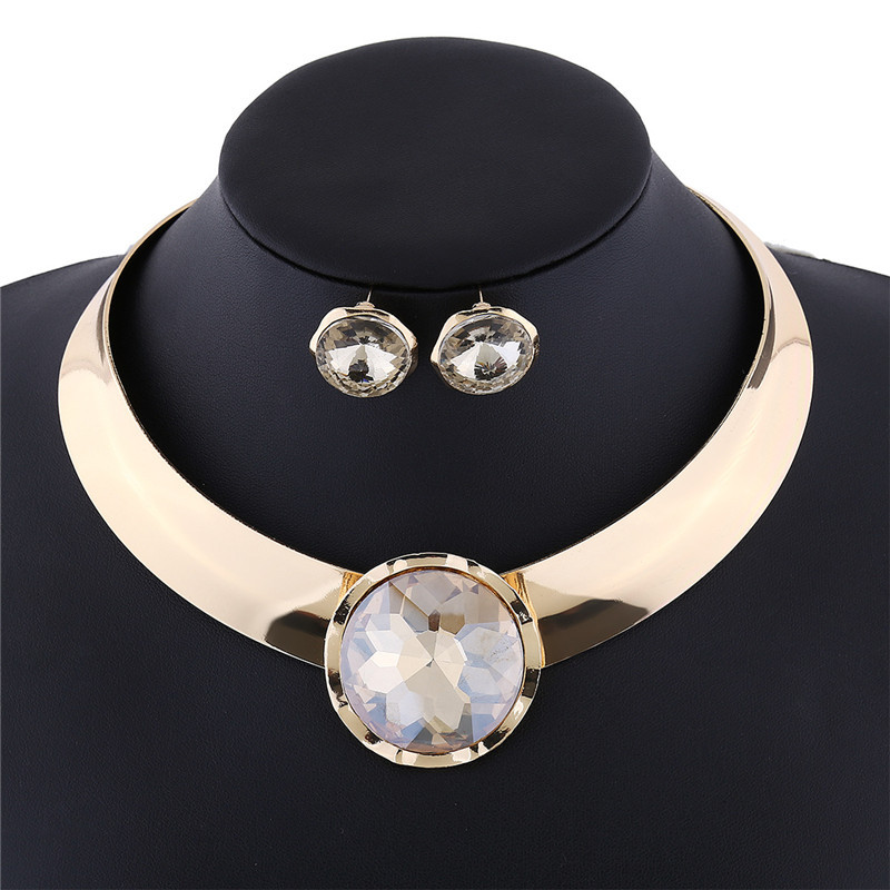 Big Round Glass Crystal Necklace and Earring Set
