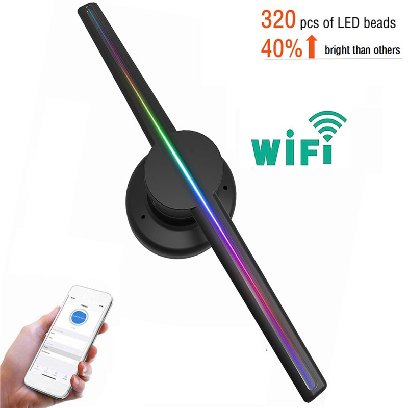 New 42cm/16.54 Wifi 3D Holographic Projector Hologram Player LED Display Fan Advertising Light APP Control