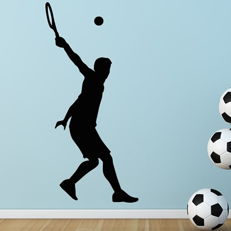 Top Selling Home Decor Removable Tennis Serve Wall Sticker Sport Vinyl Decals For Living Room