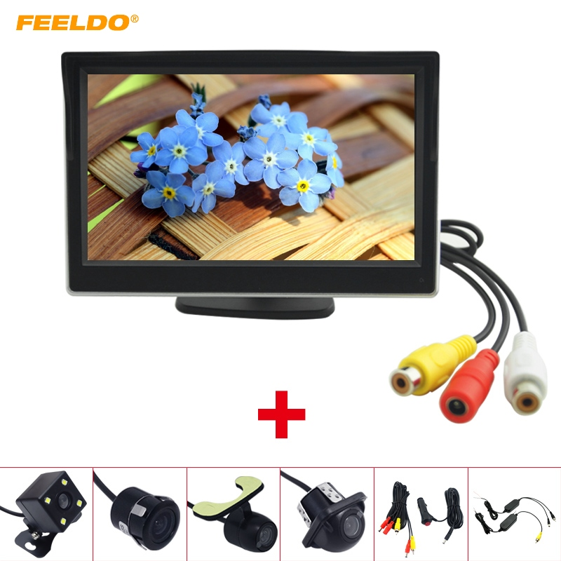 FEELDO 5 LCD TFT Stand alone Monitor With Rear View Backup Camera RCA Video Rearview System 2.4G Wireless & Cigarette Lighter O