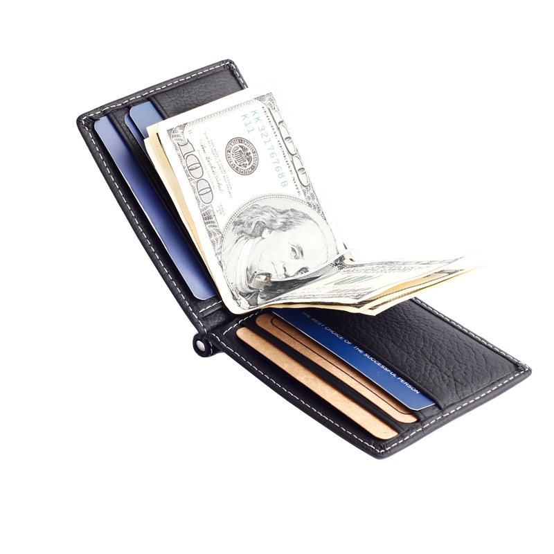 Fashion New Unisex Money Clips Black Brown Genuine Leather 2 Folded Open Clamp For Money With Zipper Coin Pocket Free Shipping