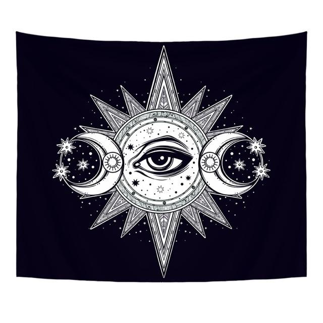 130X150 cm Polyester Tapisserie Mandala Böhmen Wand Hängen Tier Mond Wolf Pistolen Yoga Matten Strand Handtuch Decor Wohnzimmer