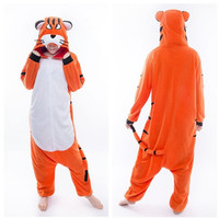 Kigurumi Tiger Long Sleeve Hooded Onesie Winter Kegurumi Homewear Warm Homewear Cute Animal Tiger Pajamas