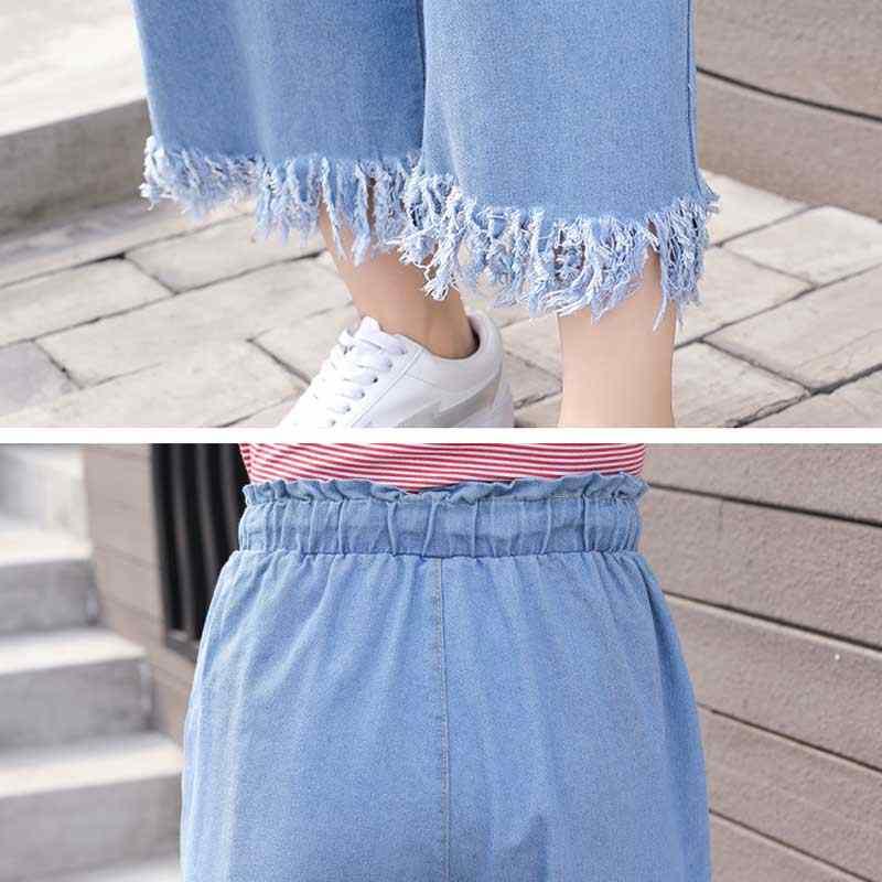 Korea hoge taille jeans retro 2019 zomer nieuwe eenvoudige temperament losse onregelmatige fuzzy cowboy negen broek wijde pijpen broek vrouwelijke