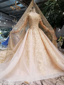 Image 3 - HTL125 muslim wedding dresses 2020 o neck long tulle sleeve beaded shiny lace cheap wedding gown fashion New material mariage
