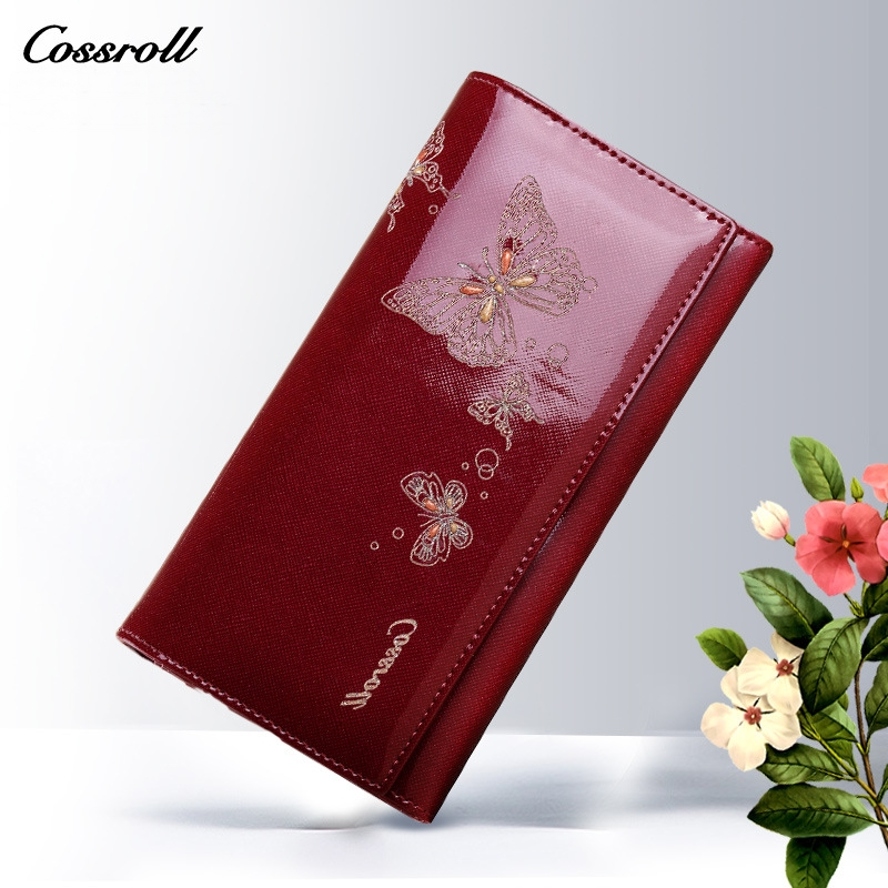 2017 New Design Cowhide Leather Wallet Women Luxury Brand Fashion Butterfly Pattern Long Womens Wallets and Purses Ladies Clutch