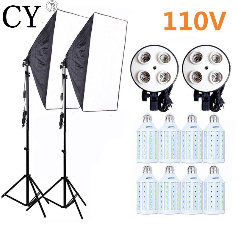 8PCS E27 20W LED Bulbs Photography Lighting Kit Photo Equipment 110v 2PCS Softbox Lightbox+Light Stand For Photo Studio Diffuser