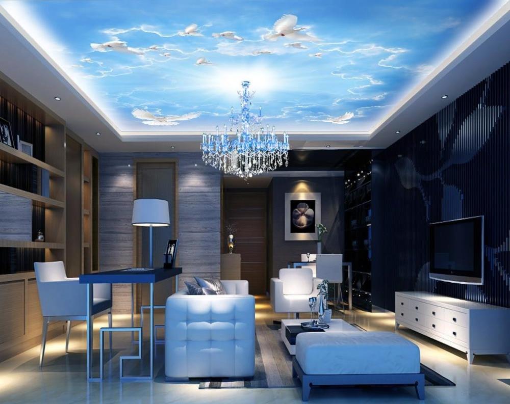 Europea 3D потолок наклейки голубое небо голуби пользовательские потолочные обои 3d нетканые фрески потолка