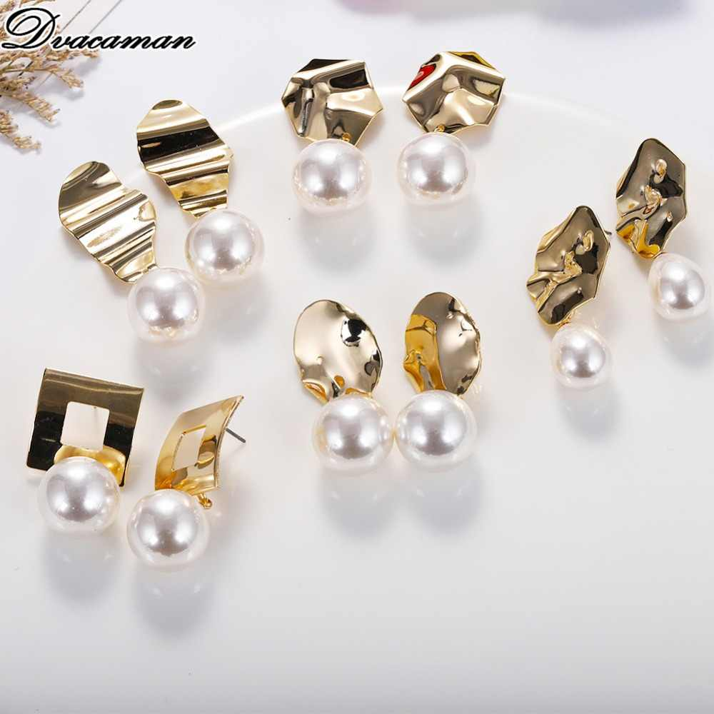 Dvacaman Real Natural Pearl Drop Earrings for Women 2019 Fashion Irregular Metal Dangle Statement Earrings Jewelry Party Gifts