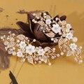 Delicadas Flores Grampo de Cabelo Folha de Ouro Do Casamento de Noiva Acessórios Para o Cabelo Handmade Mulheres Headpiece Cabelo Pérola Jóias