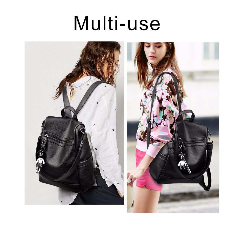 Image 2 - Herald Fashion Women Backpack for School Style Leather Student Bag For College Simple Design Women Casual Daily Packs mochilaBackpacks   -