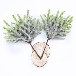 Image 3 - 6 pcs צמחים מלאכותיים מזויף אורן אגרטלים חג המולד קישוטים לבית חתונה diy מתנות תיבת זר רעיונות פלסטיק פרחים