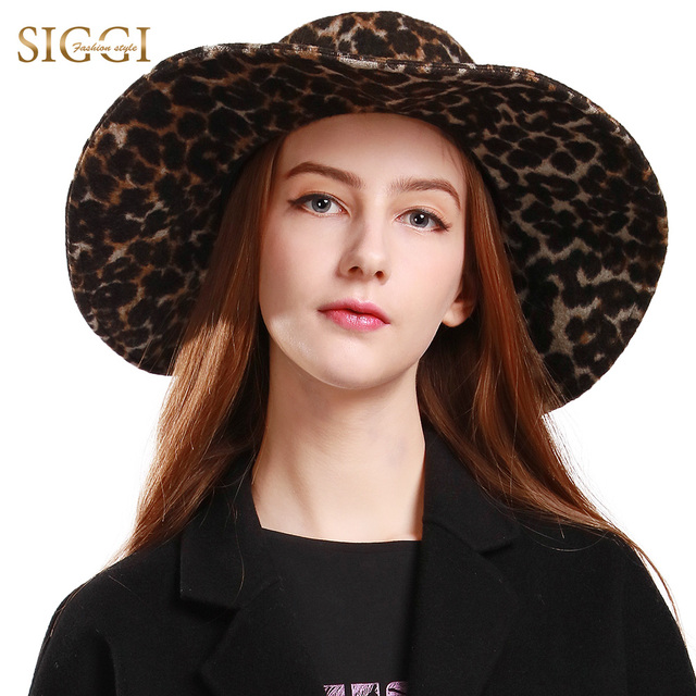 FANCET Wool Leopard Fedora Felt Hat Women Fashion Wide Brim Chapeau Autumn  Spring Gorros Sun Hats Clearance 69339 ab8bd8f0277