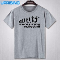 UPRISING New Funny Style Evolution Of Volleyballs T Shirt Men Custom Pattern Cotton Short Sleeve Man