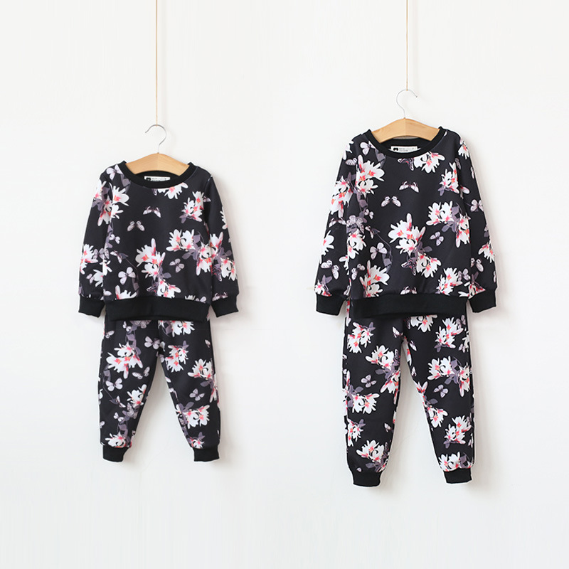 Spring Autumn flower print Girls Clothes Sets Kids Sport Suit For Girl Baby Long Sleeve baby boys suit Children Clothing Sets keaiyouhuo 2017 autumn boys girls clothes sets batman sport suit children clothing girls sets costume for kids baby boy clothes