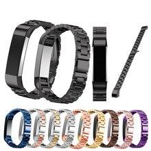 Alta calidad correa de acero inoxidable de tres enlaces classic hebilla de metal correa de reloj pulsera para fitbit alta hr smart watch