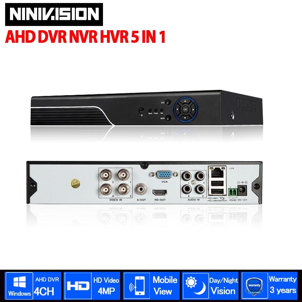 NINIVSION Home 4MP HD 4ch AHD DVR TVI CVI IP 5 in 1 CCTV 4 Channel 1080p HDMI Video Recorder AHD/TVI/CVI/CVBS/IP 5 IN 1 DVR voxlink ahd tvi cvi video converter full hd 1080p tvi cvi ahd signal to cvbs vga hdmi hd video converter for cctv cameras