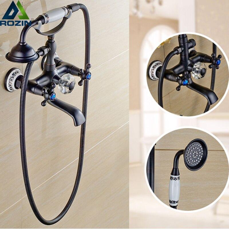 Best Quality Wall Mount Brass Ceramic Handheld Shower & Rotation Tub Spout Bathtub Faucet Mixer Taps