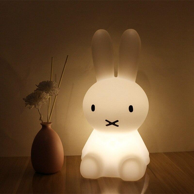 H28CM Dimmable lámpara de mesa conejo Led noche luz USB para niños bebé niños Animal de la historieta del regalo decorativo dormitorio