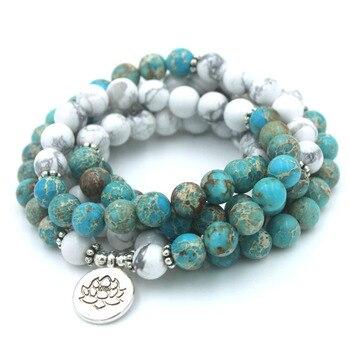Модные женские браслет 108 мала Йога браслет Натуральный Камень Хаулит с лотосом браслет >> Xin Xin Fashion JEWELRY