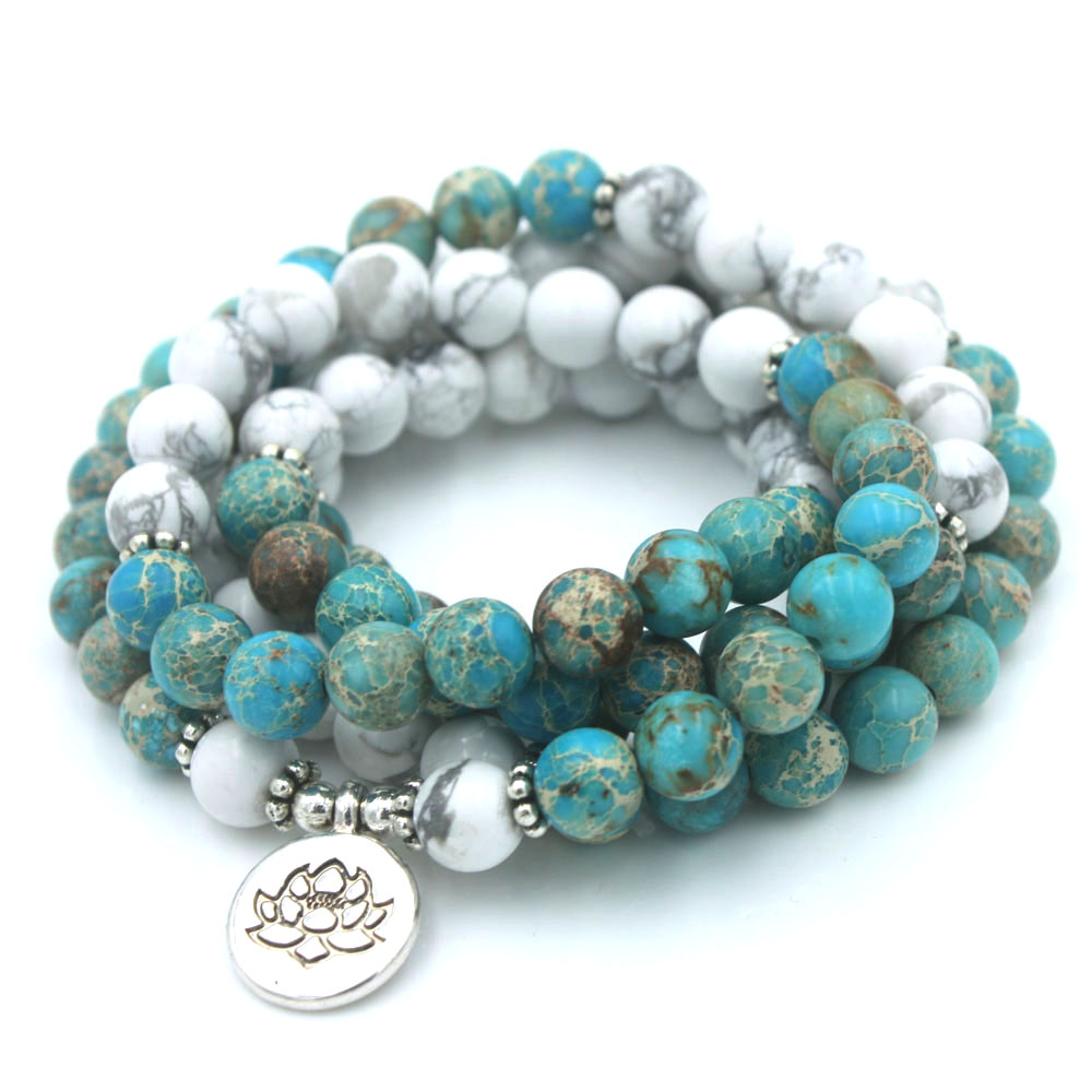 Fashion women bracelet 108 mala yoga bracelet Howlite Natural Stone with Lotus charm Bracelet