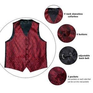 Image 5 - DiBanGu красный черный Пейсли Модный свадебный мужской 100% шелковый жилет Галстуки Ханки Запонки набор галстуков для костюма смокинг MJTZ 106
