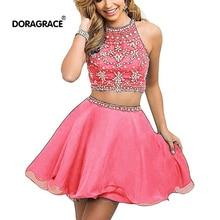 Doragrace New Fashion vestidos de festa Two-Piece Backless Pink Crystal Beaded Short Cocktail Party Dresses