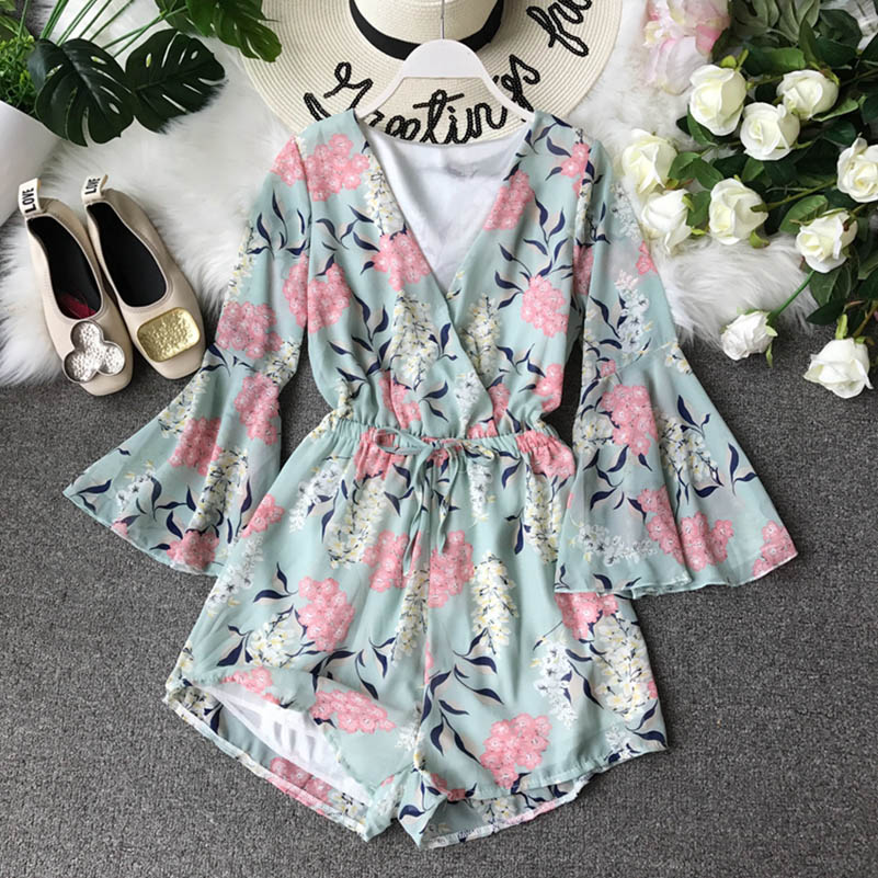 Nicemix Playsuit Jumpsuits For Women 2019 Printed Flowers Korean New Jumpsuit Female Summer High Waist Thin Chiffon Wide Leg Sho