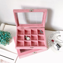 Jewelry Display Box Jewelry Ring Storage Display Organizer Jewelry Showcase Box Tray Velvet Gray Carrying Case with Glass Cover