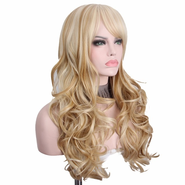 Long Blonde Wig Hair Anxin Wigs for Women Long Curly Hairs Synthetic Wigs Manufactuers Sold Directly Cheap Top Quality