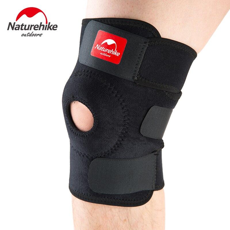 NatureHike ajustable elástica ayuda de la rodilla Brace rodillera rótula rodilla almohadillas agujero Sports Kneepad correa de seguridad para correr