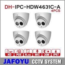 DH 6MP IP Camera IPC-HDW4631C-A Upgrade From IPC-HDW4431C-A POE Network Mini Dome Cam Built-in MIC CCTV Camera Metal 4pcs/lot(China)
