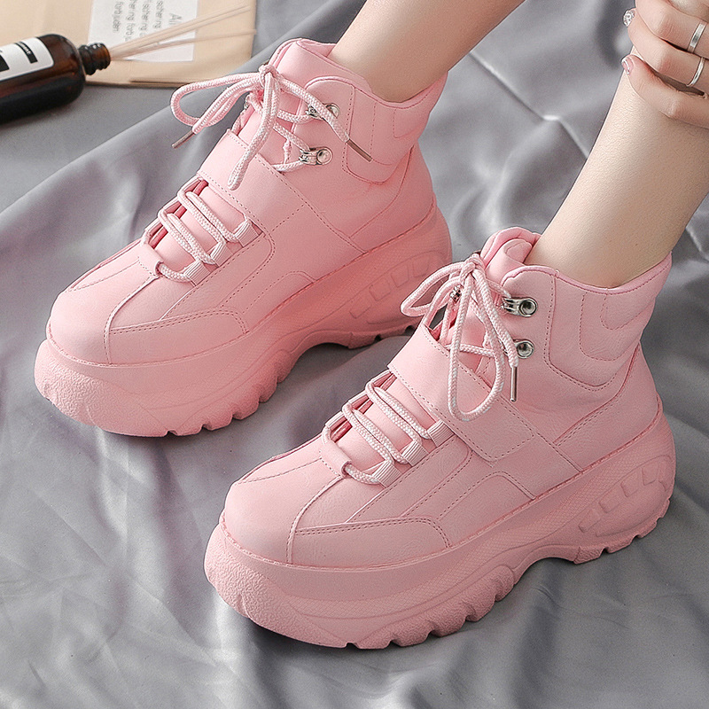 LZJ Women Chunky Sneakers 2019 Fashion Women Platform Shoes Lace Up Pink Vulcanize Shoes Womens Female Trainers Big Sneaker