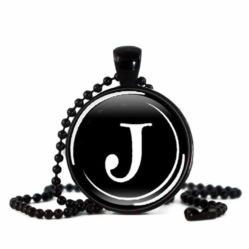 Newest Personality Letter J Pendant Necklace Handcrafted Art Glass Cabochon  Silver Jewelry Bead Chain Necklace Wholesale