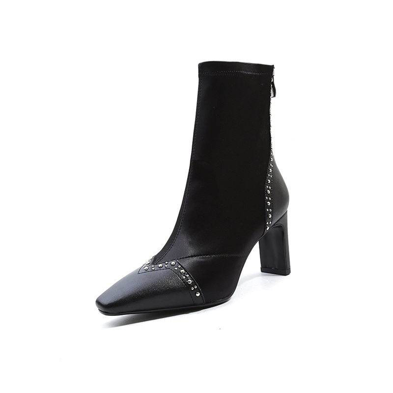 2018 En Black Cuir Égérie Taille Noir Mode Blanc Carré Étrange Pour Bout white Chaussures Super Style Zip Et Grande Nouvelle Véritable Femmes Chaussons Haute B6tf4O6