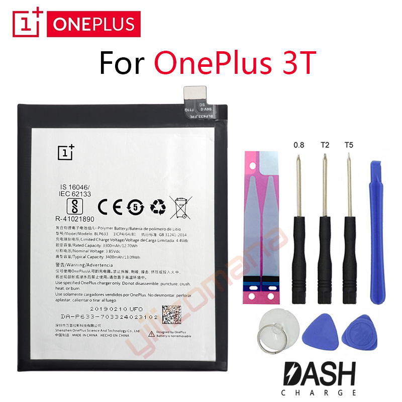 ONEPLUS Original Phone Battery For Oneplus 3T A3010 BLP633 3300/3400mah High Quality Replacement Li Ion Batteries Free Tools