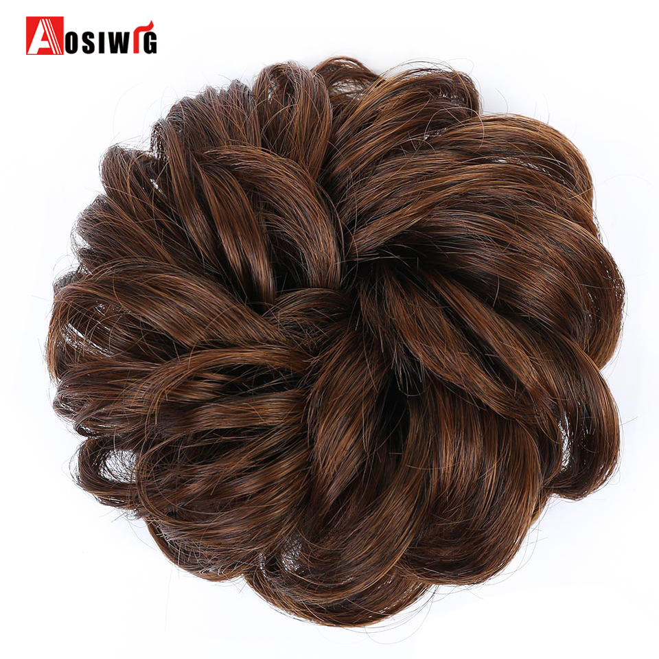 AOSIWIG Curly Chignon Hair Clip In Hairpiece Extensions Black Brown Red Synthetic High Temperature Fiber Chignon