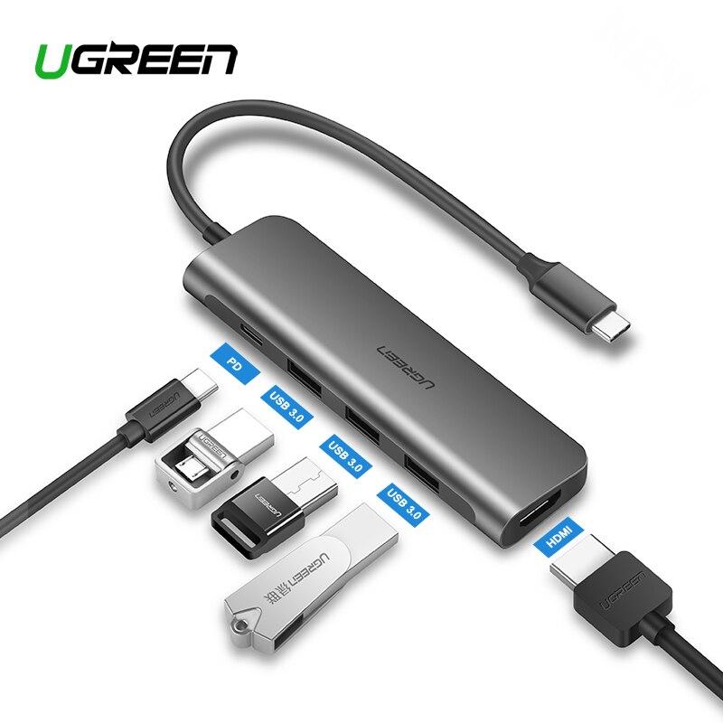 Ugreen USB HUB C USB-C a 3.0 HUB Thunderbolt HDMI Adaptador para MacBook Samsung Galaxy S9 3 Huawei Companheiro P20 20 Pro Tipo C HUB USB