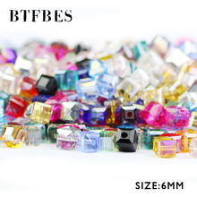 BTFBES Square Shape Upscale Austrian Crystal Beads Transparent Beads Quadrate Ball 6mm 50pcs Supply Children Handmad Making DIY цена