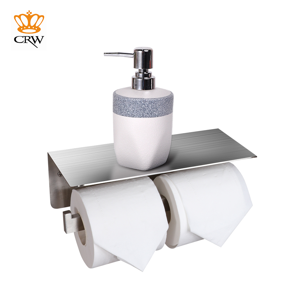 CRW Double Toilet Paper Holder with Shelf / Roll Tissue Paper Towel Phone Holder Stainless Steel Wall Mount KF30311N 304 stainless steel toilet paper holder with shelf box tissue toilet paper holders dispenser tissue paper wall mount roll holder