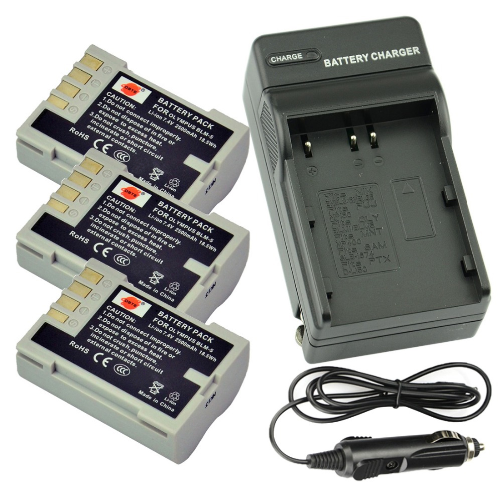 ᓂDSTE 3PCS PS-BLM5 BLM-5 Rechargeable Battery + Travel and Car ...