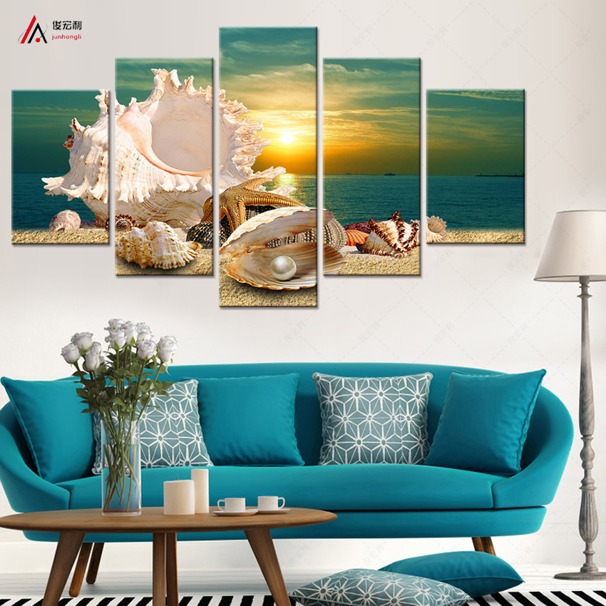 5 Panel Modern Printed Blue Beach Sea Scenes Pictures Wall