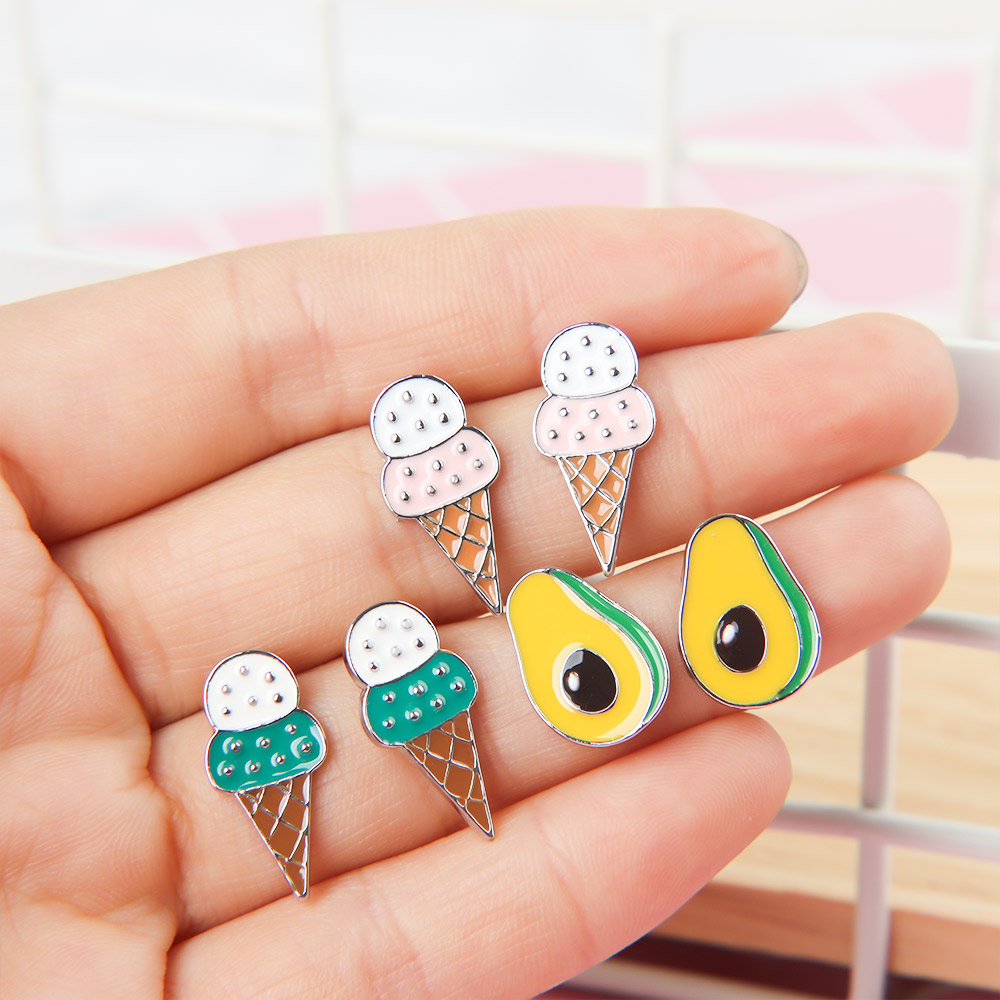1pair Lovely Mini Avocado Shape Ice Cream Stud Earrings Metal Ear Studs For Women Fashion Jewelry Delicate Gift
